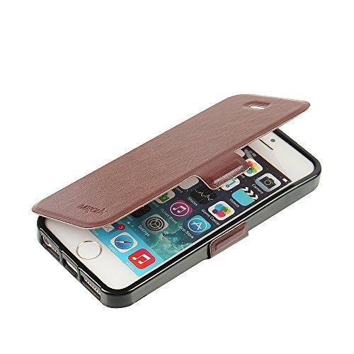 iPhone 5s Hülle, iPhone 5 Hülle, iPhone SE Hülle, MTRONX Case Cover Schutzhülle Tasche Etui Klapphülle Magnetisch Premium PU Leder Weich TPU Folio Flip Ständer und Kartenfach für Apple iPhone SE iPhon Braun