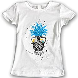 DTG Printing Piña Camisetas Acuarela 100% Algodón (XL, Blanco)