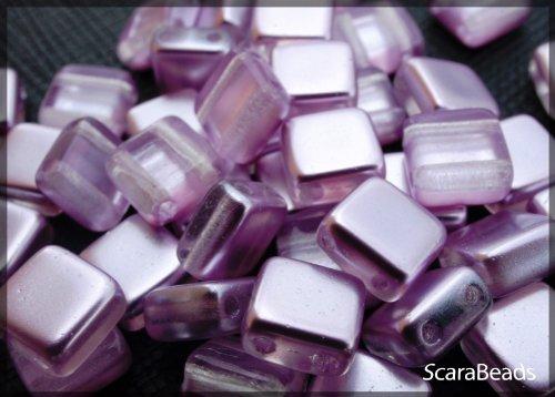40 pz Tile Beads - Ceco piazza perline di vetro con due fori, rivestimento perla da un lato, Lilac