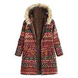 UJUNAOR Damen Retro Drucken Hoodie Mittlerer Langer Mantel Herbst Dicke Jacke S bis 5XL(Rot,CN M)