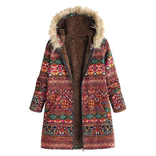 Fanxing Damen Winterjacke Mit Kapuze Warme Outwear Floral Print Hooded Taschen Vintage Oversize Mäntel (Rot, M) Print-vintage-mantel
