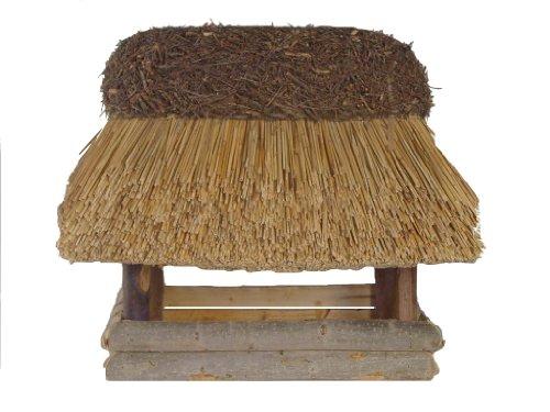 Vogelhaus mit Reetdach Futterhaus Futterstation - eckig - traditionell eingedeckt