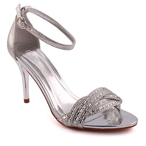 Unze Femmes 'vivacity' Strappy Mi-Bas Haut Talon Party Prom Get Together Carnaval Bureau Evening Sandals Talons Chaussures UK Taille 3-8 Argent