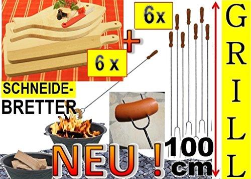 6x Fleischteller Grillbrett Holz + 6x große Grillspiesse, 100 cm lang, lange Spiesse Gabel-Spieß + massive Schneidebretter, 3 Servierplatte groß viereckig 42x 22 cm + 3 Fisch 35x 16cm, Grillbrett Servierbrett für Wurst, Gemüse, Steak / Fleischplatte, Bruschetta, Raclette, Brotzeitbrett mit Griff, Platzteller, Brotzeitbrettl, massives Schneidbrett, Anrichtebrett, Frühstücksbrett, Brotzeitbretter, Steakteller , Schinkenteller von BTV, Holz,rustikal