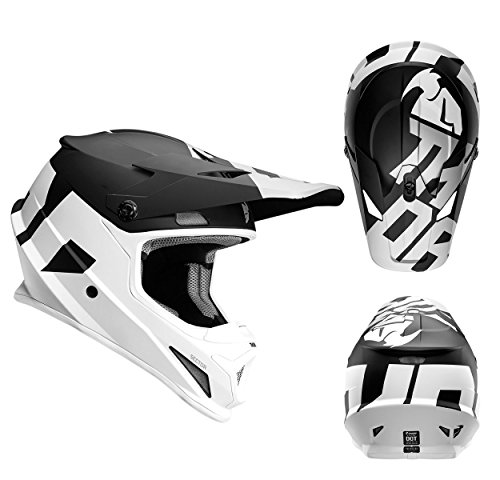 Thor Crosshelm Sector Level Motocross Enduro MX Helm matt schwarz weiss Gr. M (Thor Racing)