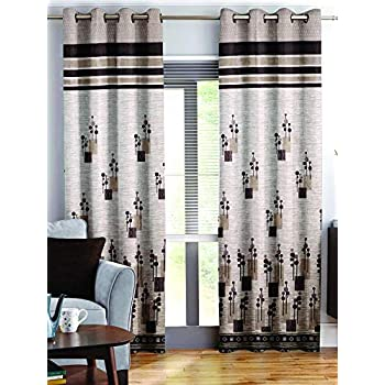 Story@Home Berry Blackout Combo Set of 2 Piece Jacquard Door Curtains for Living Room and Bed Room - 7 Feet Long - Brown