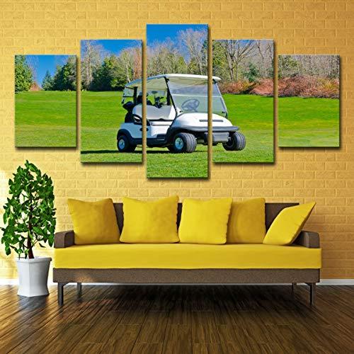 MOSMAT ART Golf Cart 3D-Druck auf Leinwand Landschaft Bild Wanddekoration 5 Stück modulare Malerei Rahmen bereit zu hängen,A,20×35×220×45×220×55×1