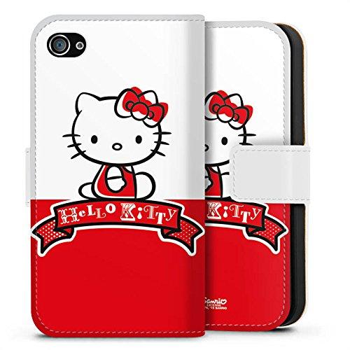 Apple iPhone X Silikon Hülle Case Schutzhülle Hello Kitty Merchandise Zubehör Cute Sideflip Tasche weiß