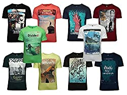 Zacharias Pack of 10 Assorted Prints Casual Multicoloured Round Neck T-Shirt