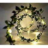 Glimmer Lightings Green Leaf Garland Decoration LED Rice Light, 5m (Off-White, String Light)