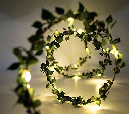 Glimmer Lightings Made in India Green Leaf Garland Decoration LED Rice Light 5 Meters Battery Operated Diwali Wedding Christmas Party Home Quirky Unique Gifts Copper Wire (5 Meters)