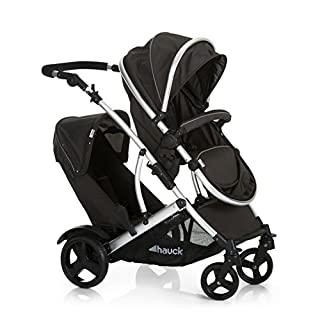 Hauck Duett 2, Tandem Double Pushchair from Birth, Reversible Seat Convertible to Carrycot, 2 Raincovers, Footmuff, Extendable Hood, Bumper Bar, Removable Seat, Height-Adjustable Push Handle, Black