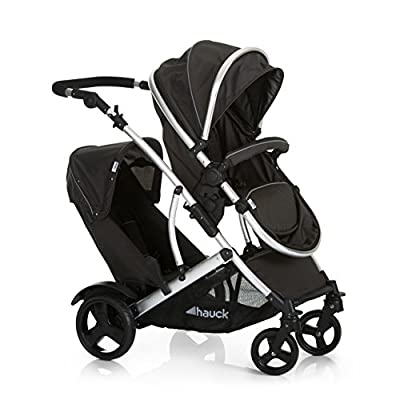 Hauck Duett 2, Tandem Double Pushchair from Birth, Reversible Seat Convertible to Carrycot, 2 Raincovers, Footmuff, Extendable Hood, Bumper Bar, Removable Seat, Height-Adjustable Push Handle, Black  CBDFG