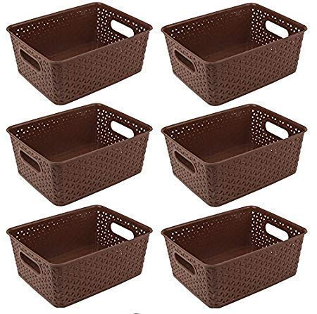 XllentTM Multipurpose Storage Basket Set of-6 in Brown for Multipurpose use/Fruit & Vegetable Basket/Storage Organizer/Makeup Organizer/Bins/Container Box [26cm+20cm+11cm]