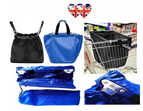 2 noir sacs à roulettes, Supermarché Sac à provisions réutilisable, Amour Environnement, dire non à un sac en plastique (Expédition même jour)