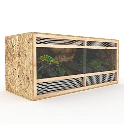 Happypet Terrarium aus Holz 120 cm breit aus OSB Platten Holzterrarium mit Seitenbelüftung