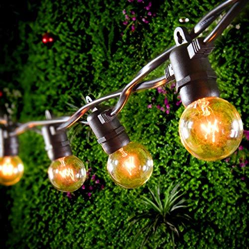 【Etanche IP65】 Mpow Guirlande Guinguette Raccordable 25 Ampoule G40 Blanc Chaud, Guirlande Lumineuse 7.65m 3 Ampoules Supplémentaire, Décoration Intérieur Extérieur pour Chambre, Jardin, Fêtes