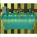 Pflanzkasten mit LED Beleuchtung Batteriebetrieb Blumenkasten 39x20 cm Farbe: Türkis