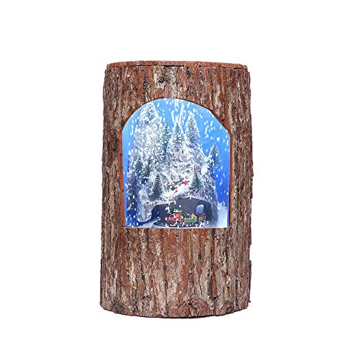 LULU Weihnachtsdekoration|Tischleuchte|Dekoratives Licht|Schneebedeckter Wald|EIN Holzpfahl|Dynamisch|Simulierte Barke|Kleiner Zug|Schneemann -