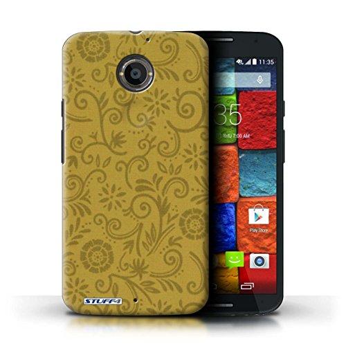 Kobalt® Imprimé Etui / Coque pour Motorola Moto X (2014) / Fleur pourpre conception / Série Motif Remous floral Fleur jaune