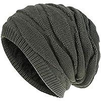 BigBig Style Gorro de punto de invierno térmico de invierno cálido gorro de punto suave holgado para hombres y mujeres, 1518992/120029RCVDOE, gris oscuro