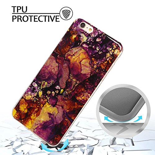iphone 6 plus Hülle, Marmor Design Muster TPU Dünn Silikon Schutzhülle für iphone 6 plus , E-lush Kristallklar Durchsichtig Kratzfeste Handyhülle Ultra Chic Thin Weich Schutzhülle Rückschale Etui Bump Flamme