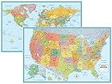 Rand McNally firma Estados Unidos Estados Unidos y mapa mural del mundo Set