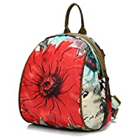 Fashion Shoulder Bag Rucksack, JOSEKO Women Nylon Flower Pattern Multifunctional National Style Handbag Shoulder Bags Backpacks
