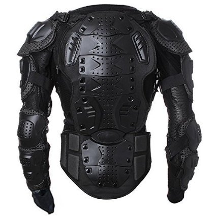 CQJDG Herren Motorrad-Jacke mit Protektoren Biker- Motocross-Ausrüstung, Schwarz