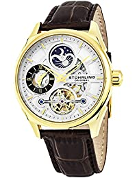 Stuhrling Original Automatic-Self-Wind Luxury Dress Skeleton Dual Time Gold-Tone Wrist-Watch for Men 21 Jewels 42 mm Stainless Steel Case Decorative Exposed Back Embossed Supple Genuine Leather Strap