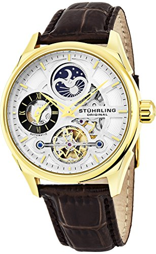Stuhrling Original Herren Uhr Analog Automatik mit Leder Armband 657Z.03 (Stuhrling Herren Skelett)