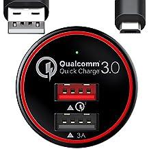 BC Master Carga rápida Cargador de coche movil 34.5W 2 Puertos USB Quick Charge3.0 + 3A Adaptador para Samsung S6 S7 edge Note 4 Note 5 con un 20AWG Cable 3.3FT Micro USB - Negro (QC