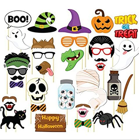 Freessom Halloween Photobooth Kit de 35pcs Chapeau Crane de mort