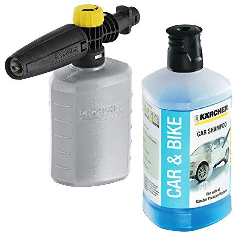 Karcher K2 K3 K4 K5 K6 K7 1L Car & Bike Valet Snow Foam Detergent + 0.6L Jet Spray Nozzle Bottle Test