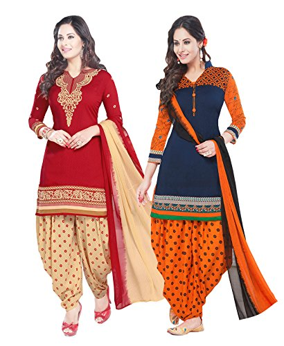 ishin Women\'s Synthetic Unstitched Salwar Suit Dress Material with Dupatta(Combodm-363_Multicolour_Free Size) - Pack of 2
