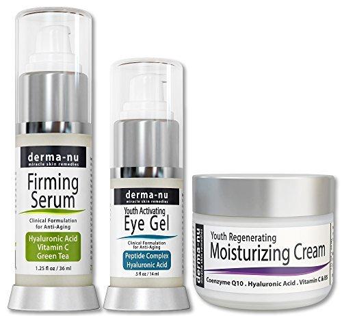 Cuidado de la Piel Antiedad - Tratamiento Eficaz Anti Arrugas (Suero de Ácido Hialurónico, Crema Ojos Antiarrugas, Crema Hidratante Antienvejecimiento) – Kit 3 Productos