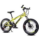 Fenfen Kinder Fahrrad 7-10-14 Jahre alt Junge Mountainbike 18/20 Zoll Shift Kinderwagen High-Carbon-Stahl-Fahrrad, blau/gelb/rot/orange (Color : 20 inch yellow)