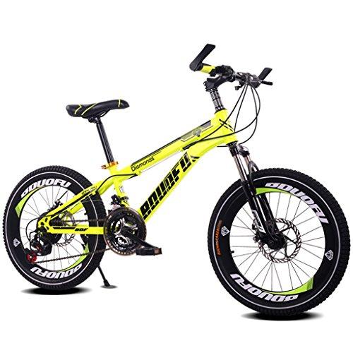 TLMYDD Kinderfahrrad 7-10-14 Jahre Alter Junge Mountainbike 18/20 Zoll Schaltkinderwagen Fahrrad aus Kohlenstoffstahl, Blau/Gelb/Rot/Orange (Color : 20 inch Yellow)