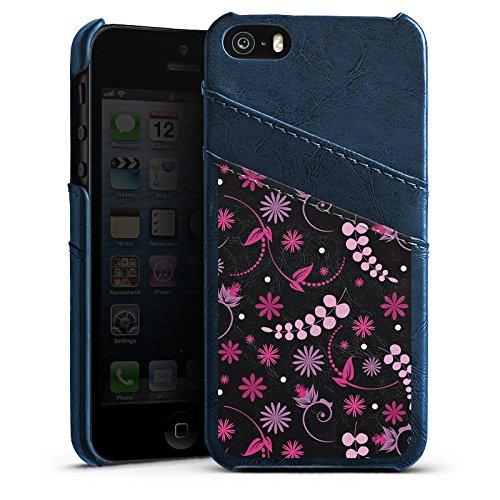 Apple iPhone 5s Housse Étui Protection Coque Petite fleur Fleurs Rose vif Étui en cuir bleu marine