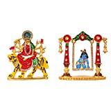 ART N HUB Combo of 2 Statue God Ma Durga & Krishna Idol Puja Mandir/Home Temple & Car Dash Board Showpiece Statue Gift Item