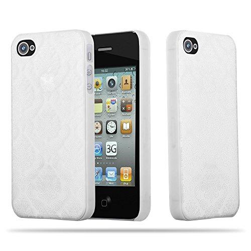 Cadorabo - Mandala Hard Cover Slim Case passend für >          Apple iPhone 4 / 4S          < Paisley Henna Hülle in TRANSPARENT mit GRÜN WEIß