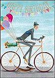 Glückwunschkarte zum Geburtstag * Mila Marquis * Mann mit Fahrrad