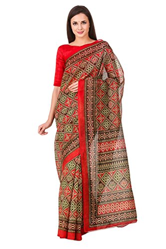 Levazo Women's Patola Printed Poly Cotton Red Saree with Blouse Piece
