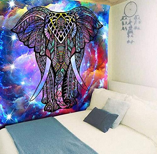 Ytdzsw Bunter Psychedelischer Elefant In Der Kunst Polyester-Anlage 2019 Wand-Teppich-Yoga-Matte-Ausgangsdekor-Tapisserie-230X150Cm - Multi Purpose Leinwand