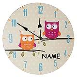 Wanduhr aus Holz -  lustige Eulen auf AST  - incl. Namen - 34 cm groß - sehr leise ! - Uhr - Analog - Kinderzimmer & Wohnzimmer - für Jungen Mädchen Kinder ..
