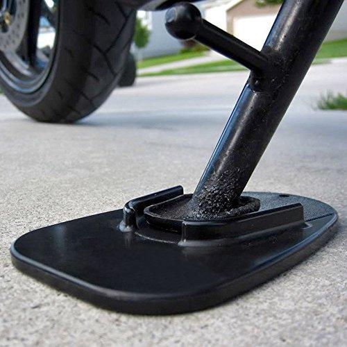Unterstützung Pad (Lorcoo Motorrad Seitenständer Unterstützung Fuß-Verbreiterung Ständer Pad, Schwarz)