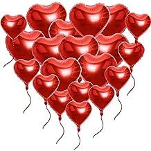 20 x Globos Metalicos de Corazón Rojo Helio para Boda y Fiesta 45cm 25cm (10pcs*10in + 10pcs*18in) con Cintas