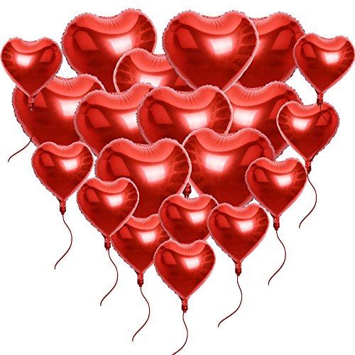 Preisvergleich Produktbild 20 Stück Rot Herzballons (10x18 Zoll + 10x10 Zoll) inkl. 2 m Seilen Folienballons Luftballons Herzform Heliumballons Herzluftballons für Geburtstag Valentinstag Hochzeit Verlobung (Rot)