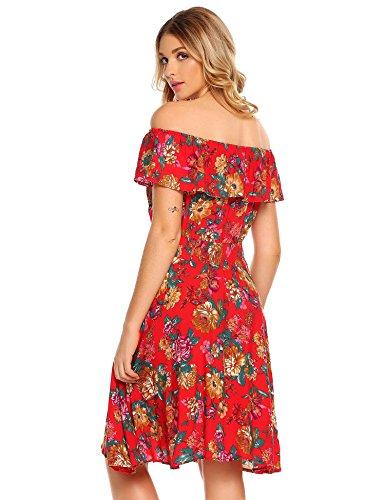 Meaneor Robe Col Bateau Imprimée Floral sans Manches Taille Elastique Style4-A