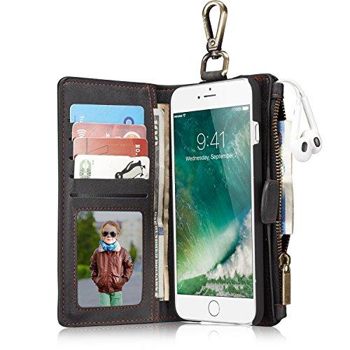 Phone Case Hülle Brieftasche mit Kartenfächer Geldscheinfach mit Reißverschluss Schlüssel Haken Premium mit abnehmbaren Magnet Handy Schutzhülle Geldbörse (Haken Geldbörse)